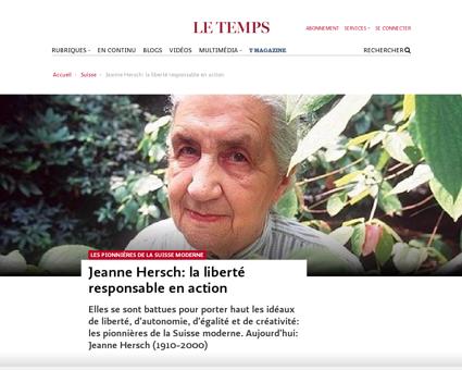 Jeanne hersch liberte responsable action Jeanne