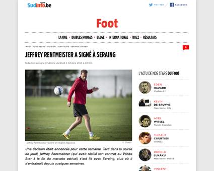 Jeffrey rentmeister a signe a seraing Jeffrey