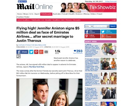 Jennifer Aniston signs 5 million deal fa Jennifer