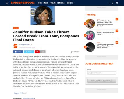Jennifer hudson takes throat forced brea Jennifer