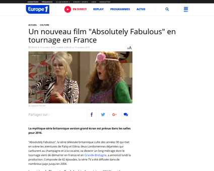 Le film absolutely fabulous en tournage  Jennifer