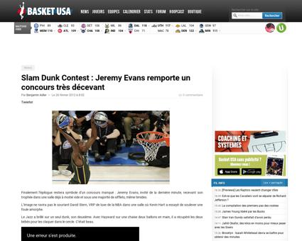 Slam dunk contest jeremy evans remporte  Jeremy