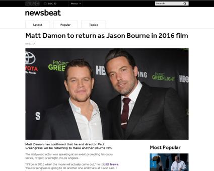 Matt damon to return as jason bourne in  Jeremy