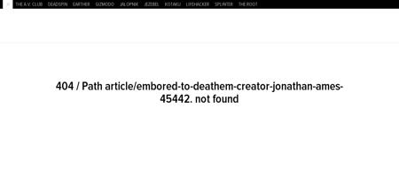 Embored to deathem creator jonathan ames Jonathan