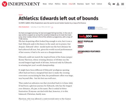 Athletics edwards left out of bounds 133 Jonathan