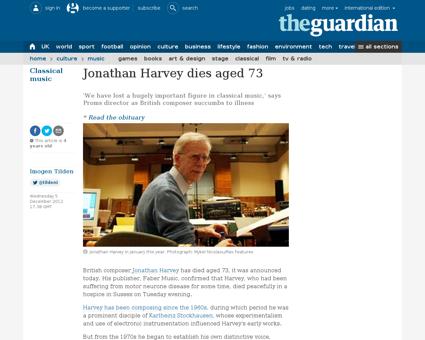Jonathan harvey dies 73 composer Jonathan