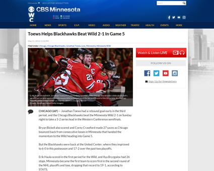 Toews helps blackhawks beat wild 2 1 in  Jonathan