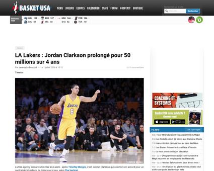 La lakers jordan clarkson prolonge pour  Jordan