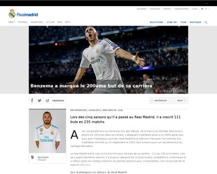 Benzema a marque le 200eme but de sa car Karim
