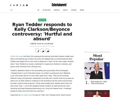 Ryan tedder clarkson beyonce statement Kelly