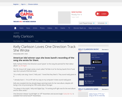 Kelly clarkson loves one direction track Kelly
