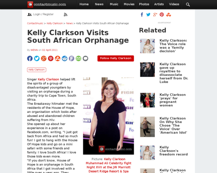 Kelly clarkson visits south african orph Kelly