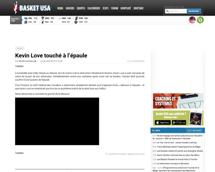 Kevin love touche a lepaule Kevin
