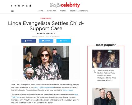 Linda evangelista settles child support  Linda