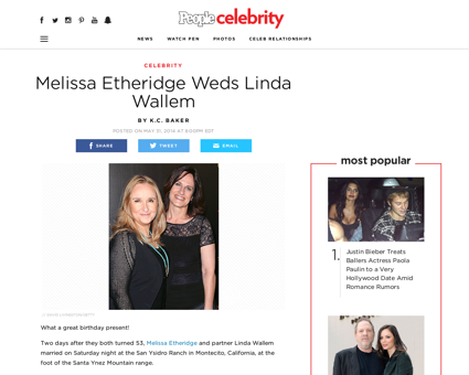 Melissa etheridge weds linda wallem Linda