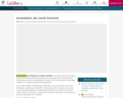 Arrestation de lionel dumont Lionel