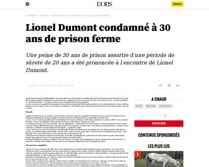 Lionel dumont condamnea 30 ans de prison Lionel