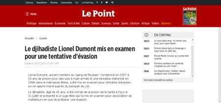 Le djihadiste lionel dumont mis en exame Lionel