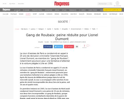 Gang de roubaix peine reduite pour lione Lionel