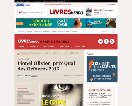 Lionel olivier prix quai des orfevres 20 Lionel