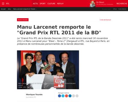 Manu larcenet remporte le grand prix rtl Manu
