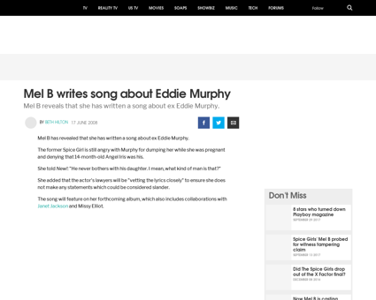 Mel b writes song about eddie murphy Melanie