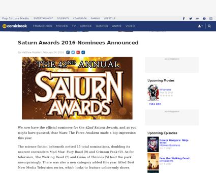 Saturn 2016 nominees announced Michael