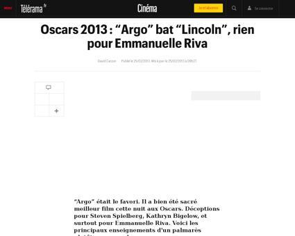 Oscars 2013 argo bat lincoln rien pour e Michael