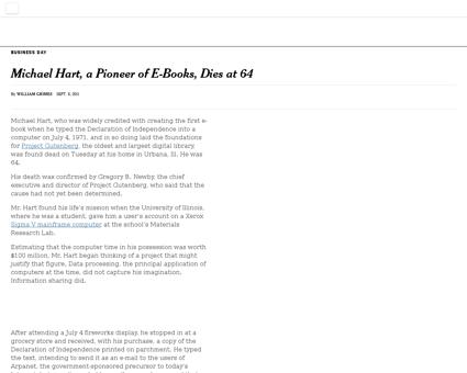 Michael hart a pioneer of e books dies a Michael