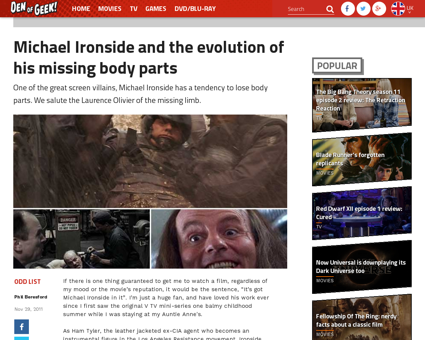 Michael ironside and the evolution of hi Michael
