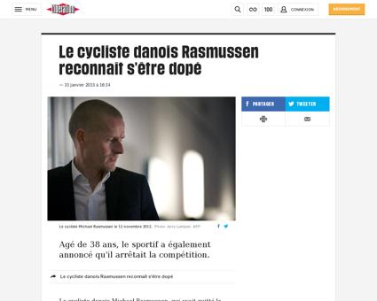 Le cycliste danois rasmussen reconnait s Michael
