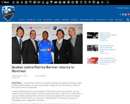 Quebec native patrice bernier returns mo Patrice