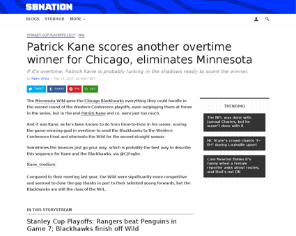 Patrick kane overtime goal blackhawks wi Patrick