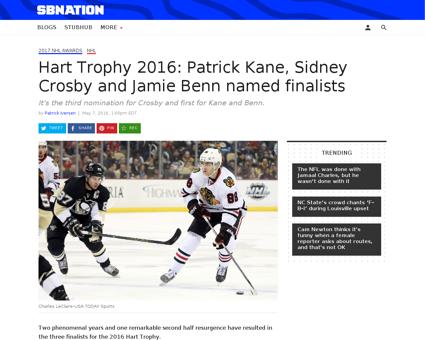 Hart trophy 2016 patrick kane sidney cro Patrick