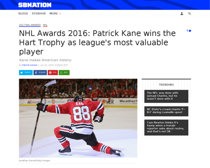 2016 nhl awards patrick kane wins hart t Patrick