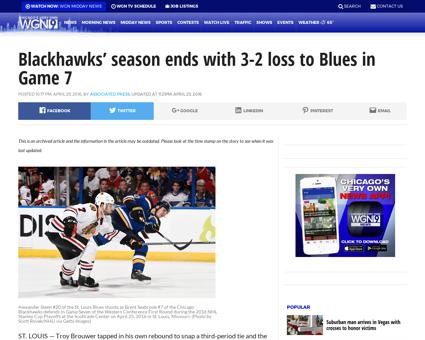 Blackhawks season ends with 3 2 loss to  Patrick