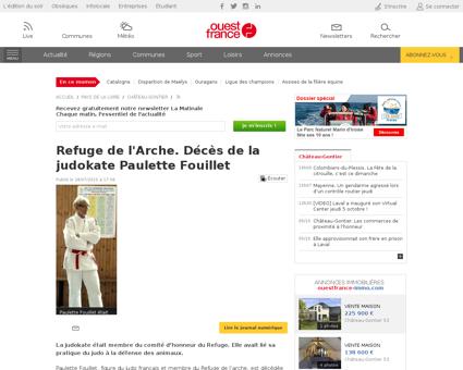 Refuge de larche deces de la judokate pa Paulette