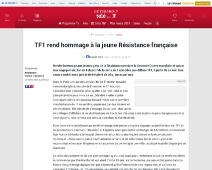 Tf1 rend hommage a la jeune resistance f Pauline