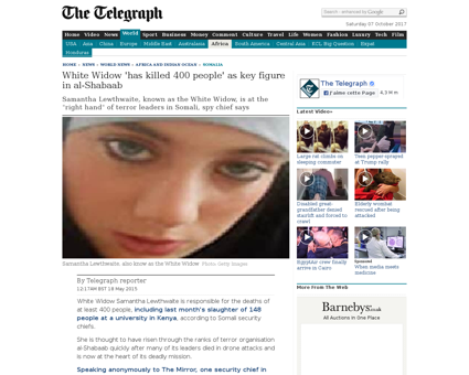 White Widow has killed 400 people as key Samantha
