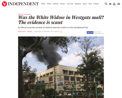 Was the white widow in westgate mall the Samantha