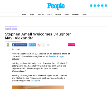 Arrow stephen amell welcomes daughter ma Stephen
