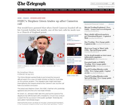 HSBCs Stephen Green trades up after Came Stephen