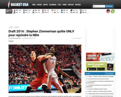 Draft 2016 stephen zimmerman quitte unlv Stephen