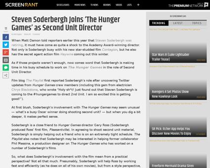 Steven soderbergh hunger games director  Steven