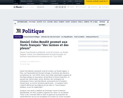 Daniel cohn bendit promet aux verts fran Yannick