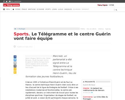 Sports le telegramme et le centre guerin Yoann
