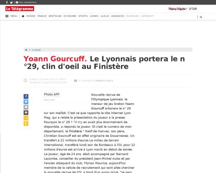 Yoann gourcuff le lyonnais portera le n  Yoann