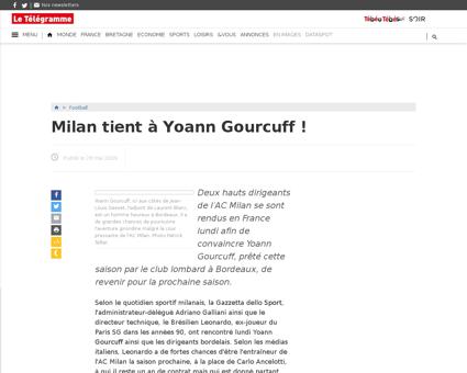 Milan tient a yoann gourcuff 28 05 2009  Yoann