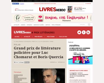 Grand prix de litterature policiere pour Luc