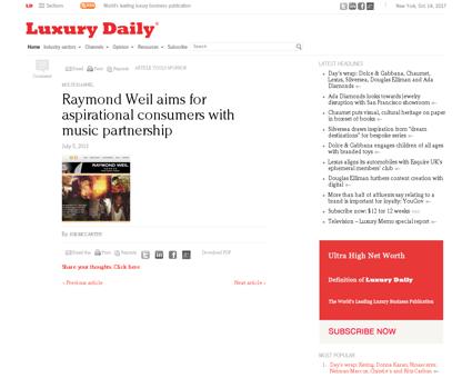 Raymond weils music partnership targets  Raymond